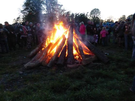 Enjoying the communal bonfire to round off the evening