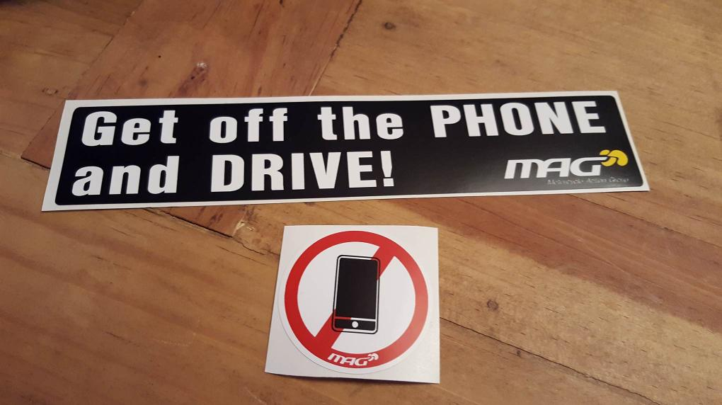 No phoning whilst driving stickers