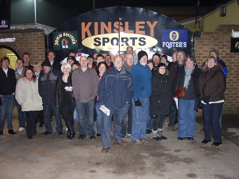 Our obligatory group photo, at Kinsley dog track