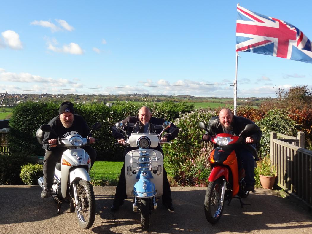 Keithy Bear, Steve Travis (Wakefield Rep) and Manny (Leeds and Yorkshire Rep) on their inappropriate bikes