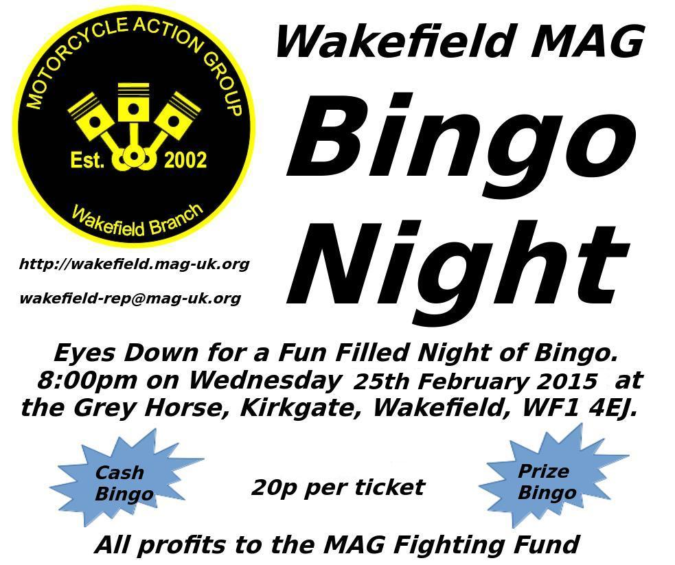 Wakefield MAG Bingo Night