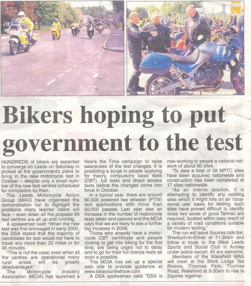 Coverage of the Leeds MAG Demo Run in the Wakefield Express